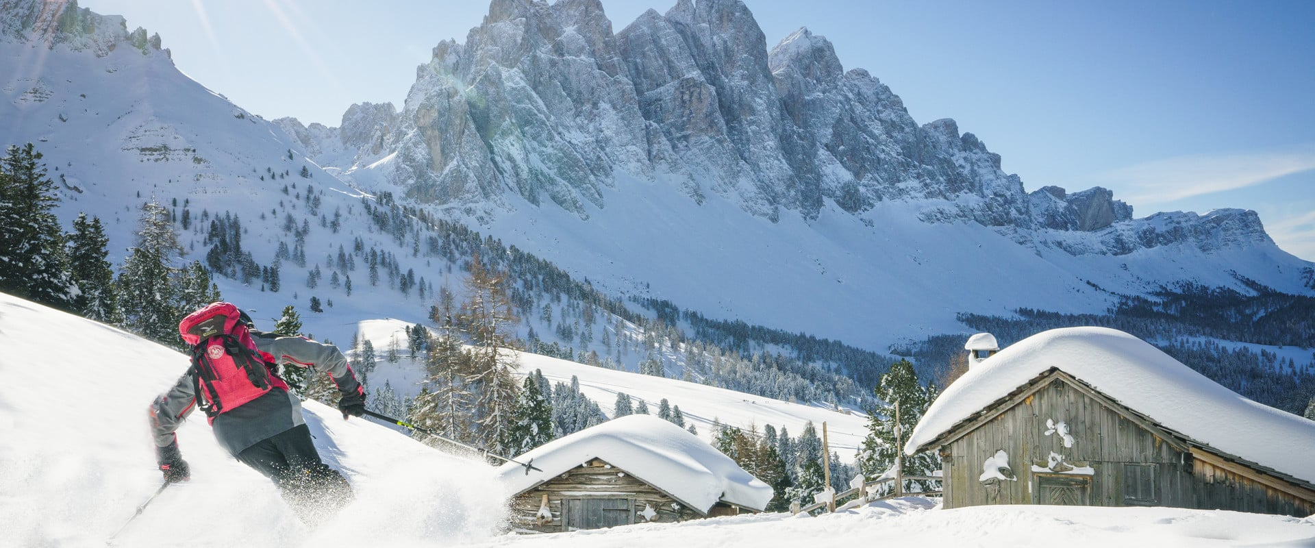Skiing and fun in the Dolomites' winter wonderland
